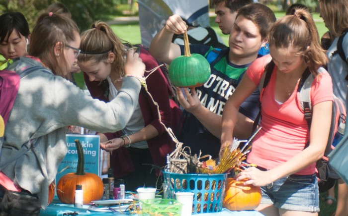 Students decorate pumpkins and participate in crafting activities at the Wellness Expo.