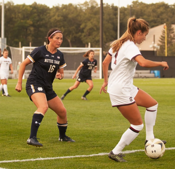 Graduate student and midfielder Sandra Yu defends her half during Notre Dame's 1-0 loss to South Carolina on Sept. 1.