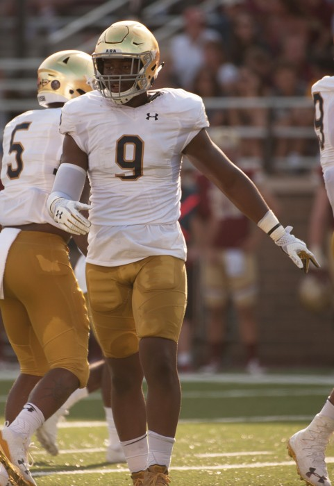 Irish sophomore defensive lineman Daelin Hayes reacts to a play during Notre Dame's 49-20 win over Boston College on Sept. 16 in Chestnut Hill, Massachusetts.