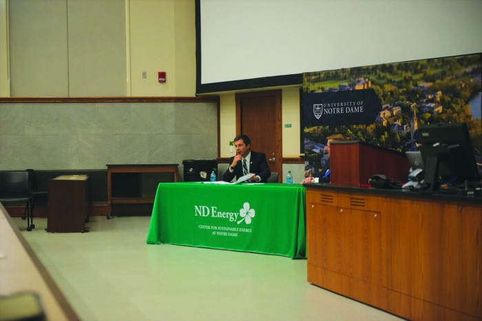 South Bend Mayor Pete Buttigieg speaks at a discussion Thursday on urban development and sustainability in cities.