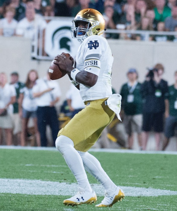 Irish junior quarterback Brandon Wimbush looks to make a pass during Notre Dame's 38-18 victory over Michigan State on Sept. 23