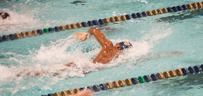 Irish junior Tabahn Afrik competes in a freestyle event during Notre Dame's 153.5-146.5 win over Louisville on Oct. 7 at Rolfs Aquatic Center.