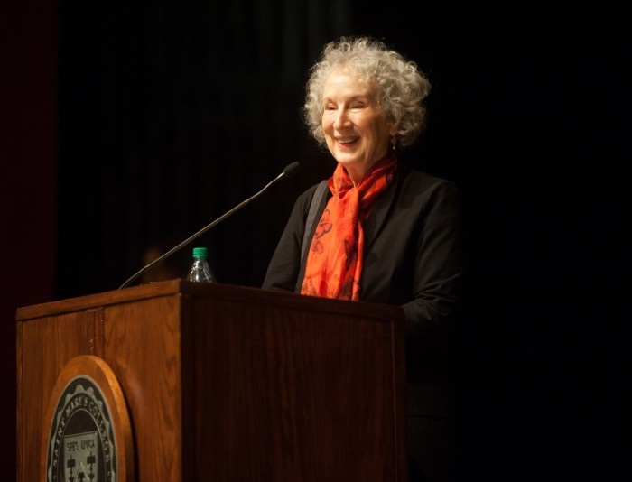 Margaret Atwood engages with the crowd at her lecture at Saint Mary's Wednesday evening. In an interview, Atwood stressed the importance of liberal arts and the humanities.