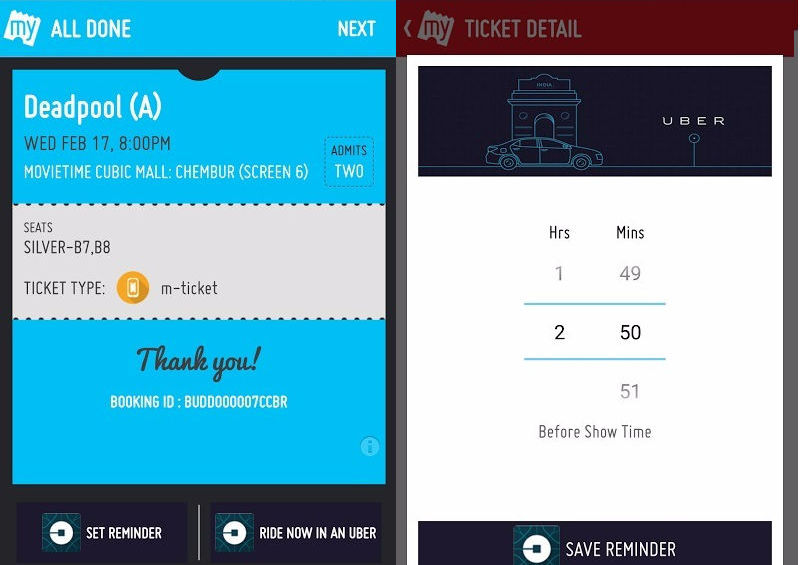 Now, Book an Uber to the Cinema via BookMyShow