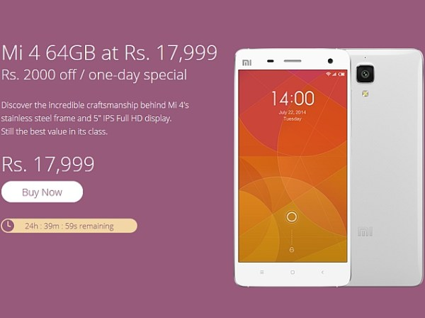 Xiaomi Mi 4 64GB Price in India Slashed for a Day ...