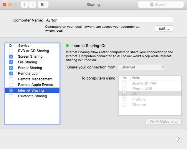 hotspot setting in mac