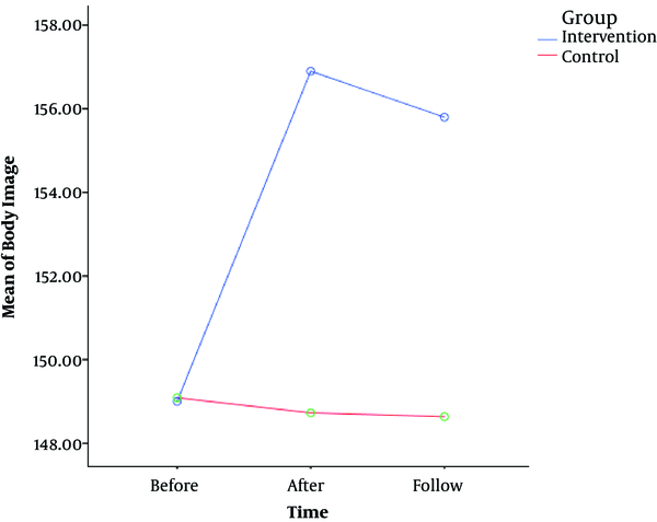 Body Image Scores of the Groups Based on Time