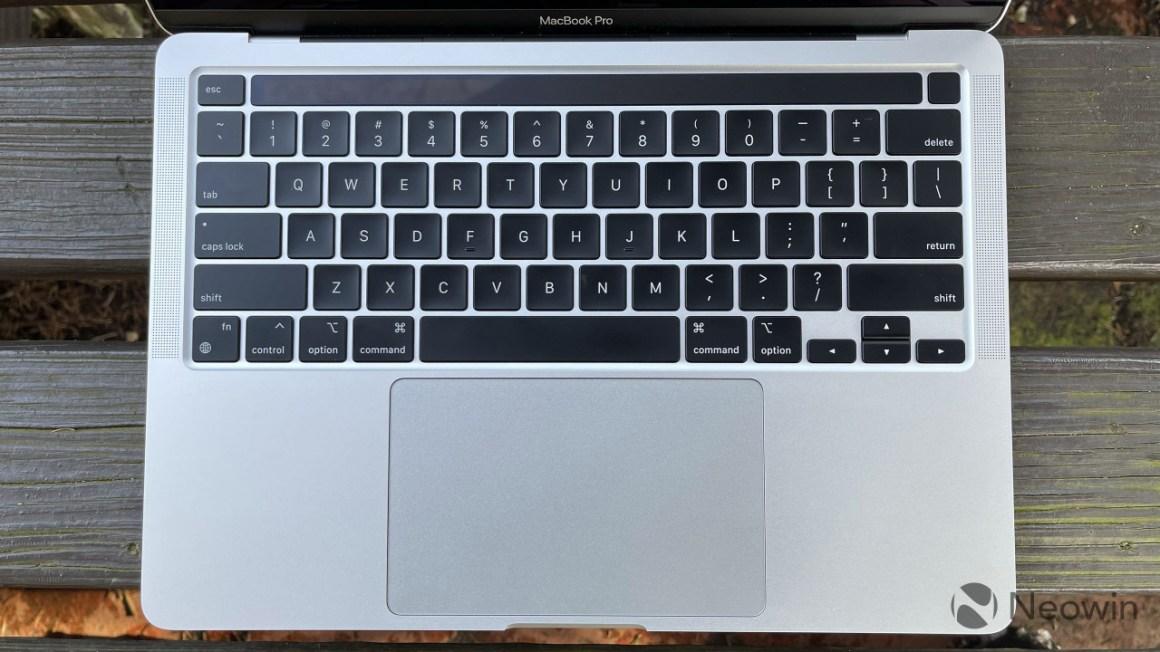 Top-down view of MacBook Pro keyboard