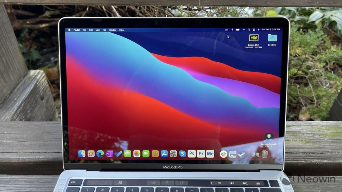 Close-up view of MacBook Pro display