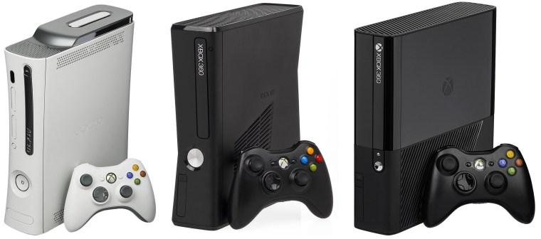 The original Xbox 360 Premium, Xbox 360 S, and Xbox 360 E