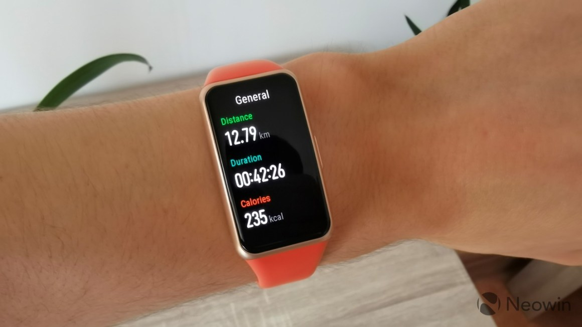 Workout records with distance duration and calories burned displayed on the Huawei Band 6