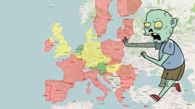 Landkarte mit Zombie