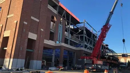 Construction on the new Belmont Arena as seen