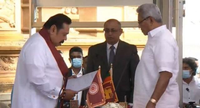 Mahinda Rajapaksa takes oath as the new Prime Minister of Sri Lanka