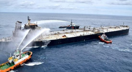 SLAF drops another 1000kg of DCP on to MT New Diamond to smother any onboard flames