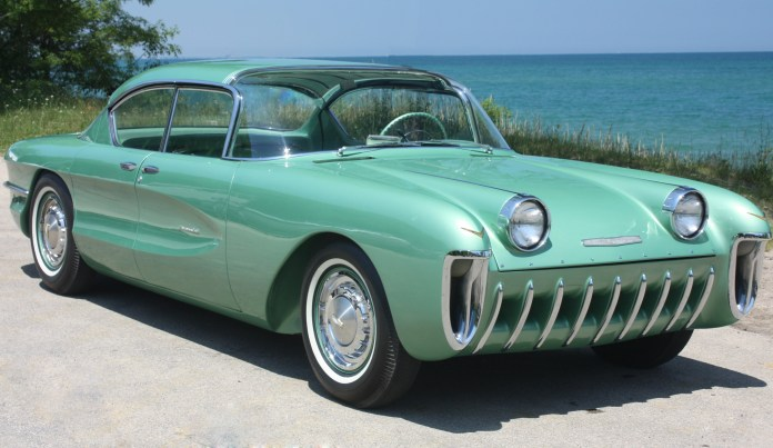 1955 chevrolet biscayne concept car on display at the new petersen