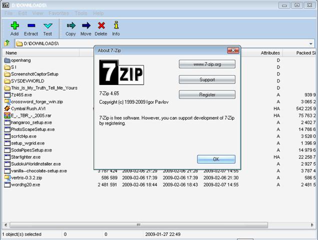 7 zip - descompactar arquivos