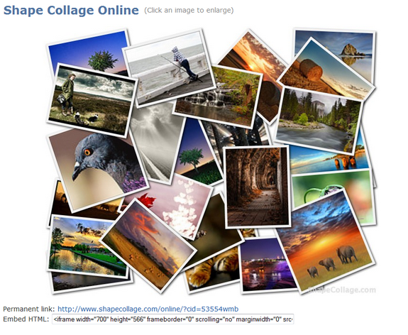 Create Photo Collages Online with Shape Collage