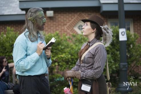 A goblin journalist interviews a professor in NWM4. Photo by Learn Larp LLC.