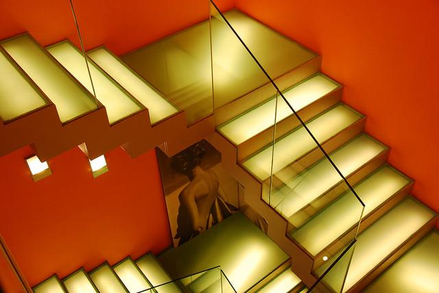 lighted angular staircase