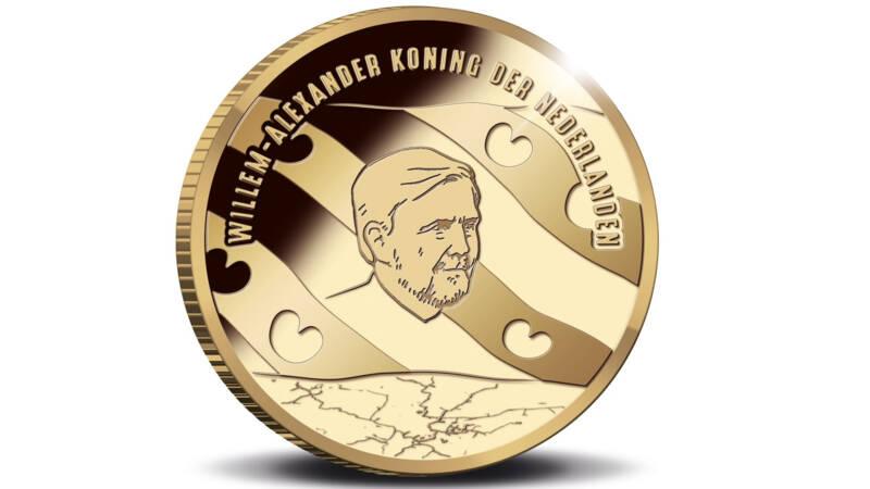 eerste munt met de baard van de koning