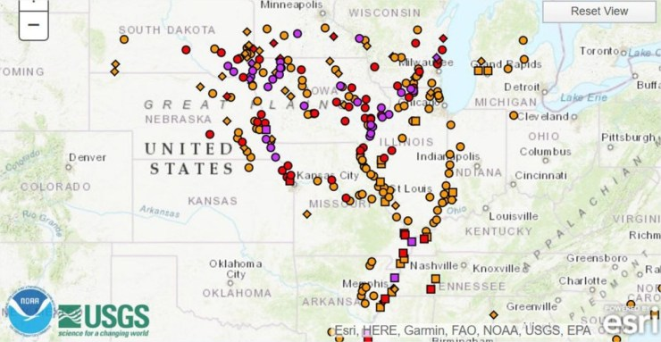 Mapa das enchentes EUA