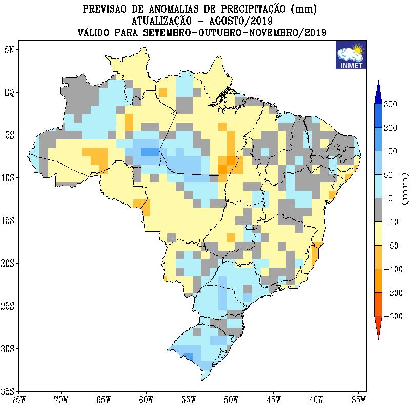 Mapa de previsão de anomalias de precipitação do Inmet para setembro, outubro e novembro - Fonte: Inmet