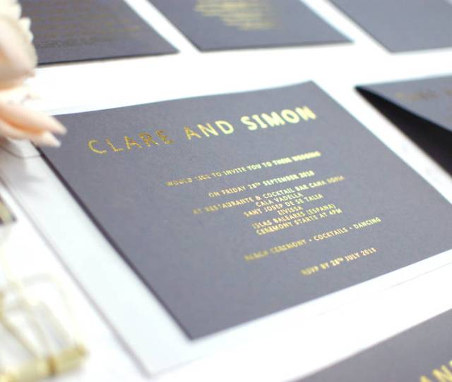 Grey And Gold Foil Bespoke Wedding Invitation