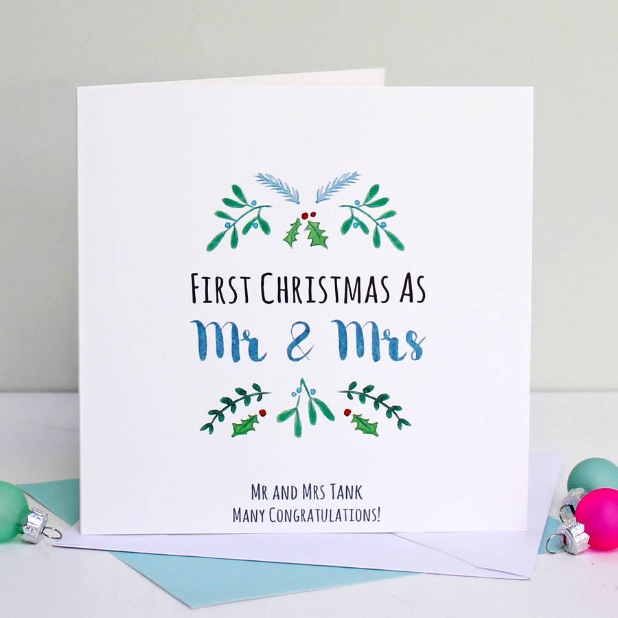 Personalised Mr And Mrs First Christmas Card By Love