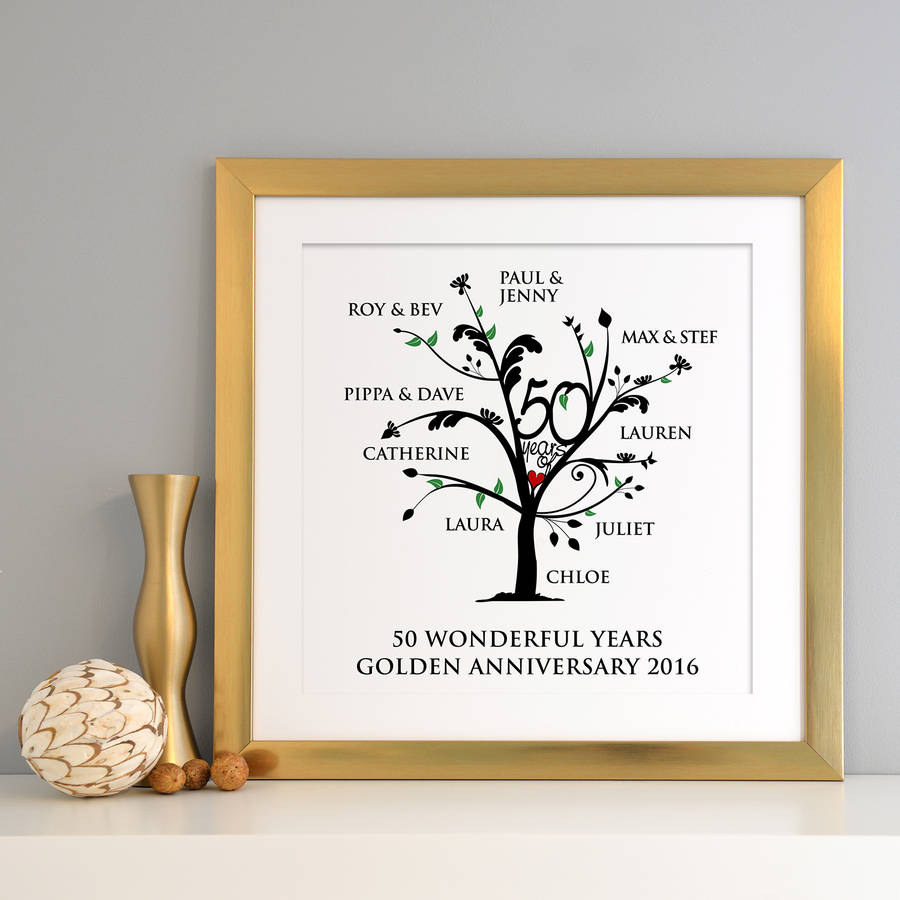 Personalised Golden Anniversary Family Tree Print By A