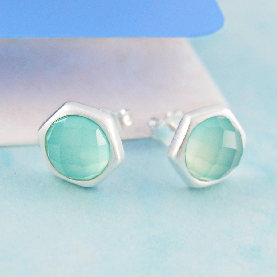 Aqua Chalcedony Silver Hand Cut Gemstone Stud Earrings By
