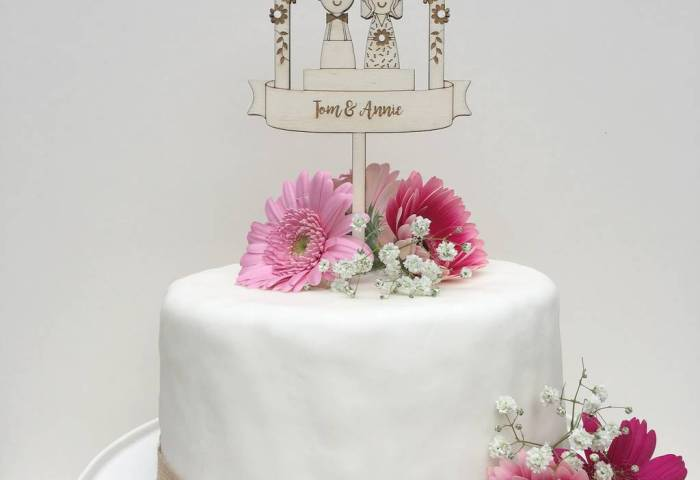 Personalised Wooden Wedding Anniversary Cake Topper By Just Toppers