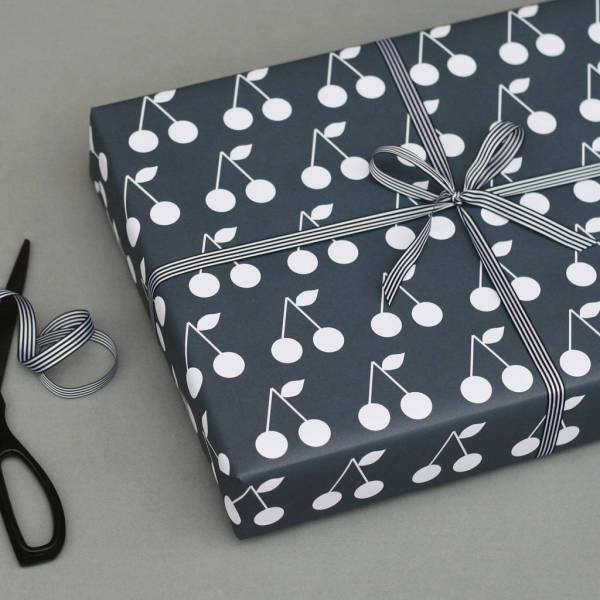 luxury navy cherries wrapping paper by nancy & betty ...