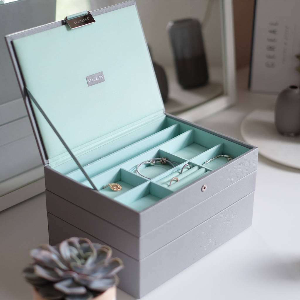 Dove Grey With Mint Classic Jewellery Box By Stackers