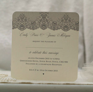 Paris Lace Vintage Style Wedding Invitation