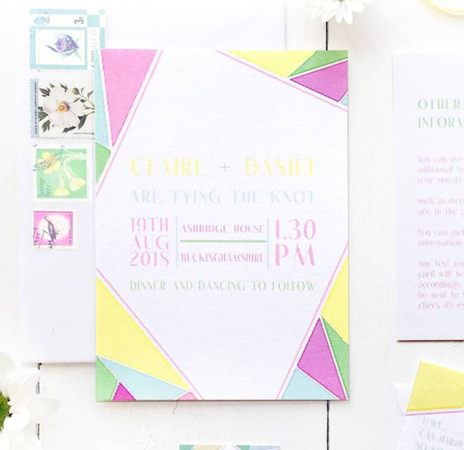 Rainbow Geometric Wedding Invitation Set