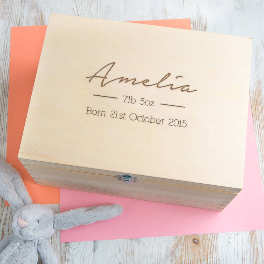 personalised baby girl keepsake box / memory boxdust and