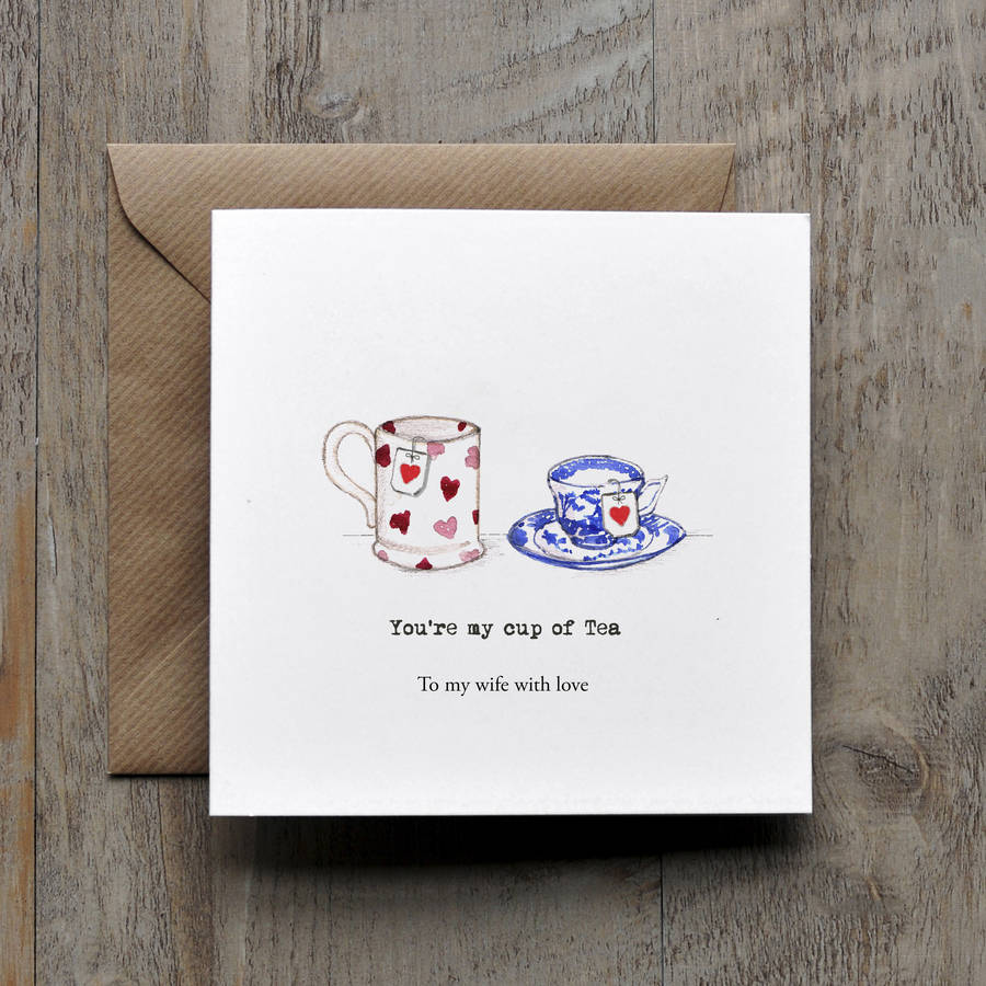 Youre My Cup Of Tea Vintage Valentines Card By Honey Tree