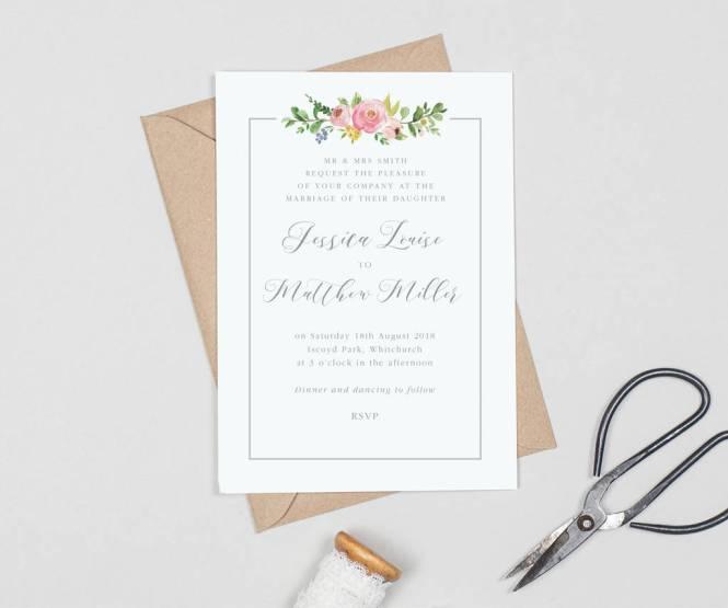 Country Fl Border Wedding Invitations