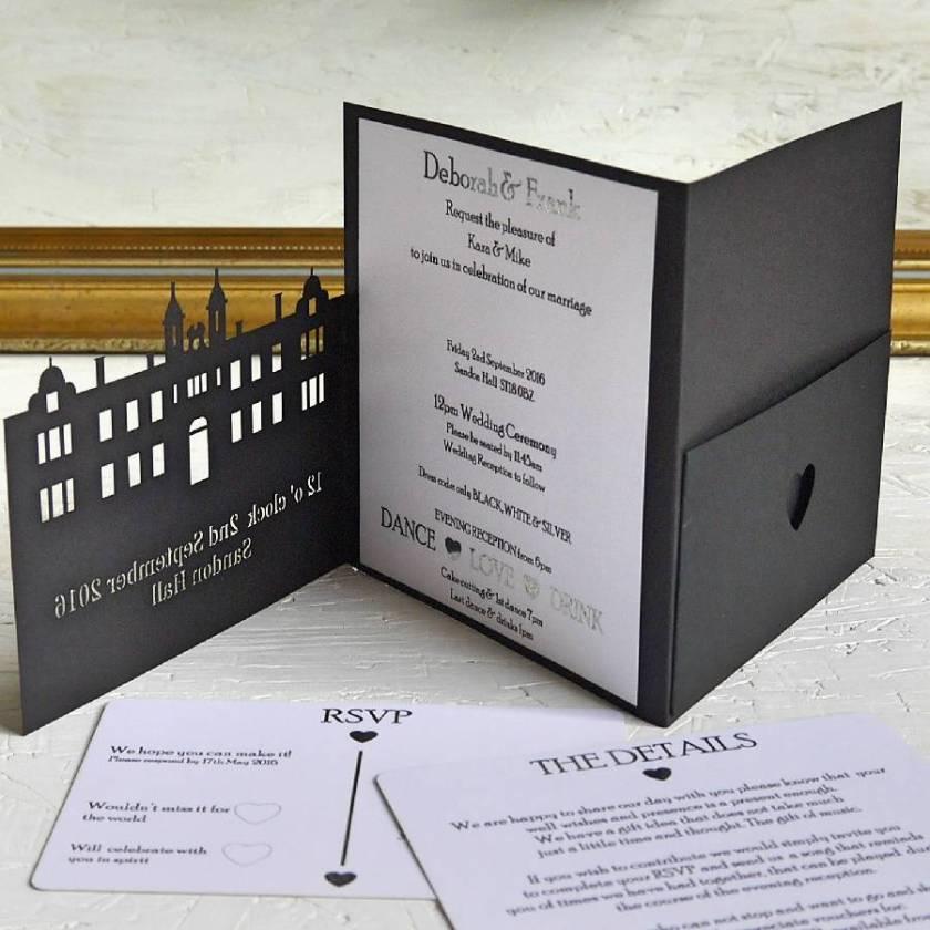 Bespoke Wedding Venue Invitation With Rsvp Cards