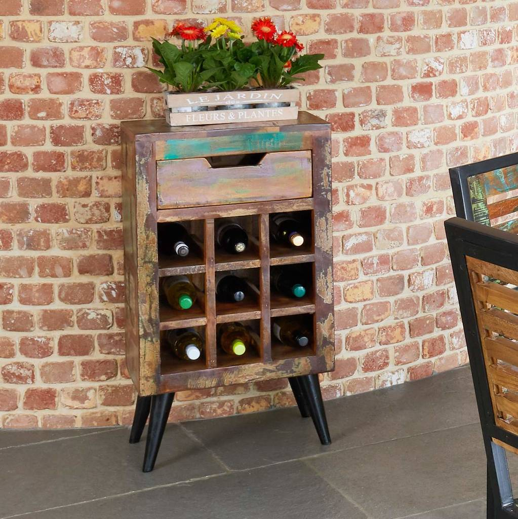 dunes wine storage rack side table with drawer
