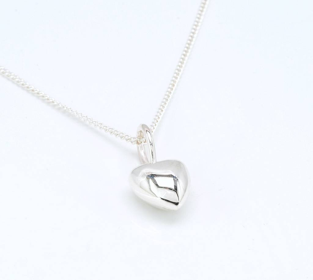 Solid Silver Polished Heart Necklace By Nicola Hurst