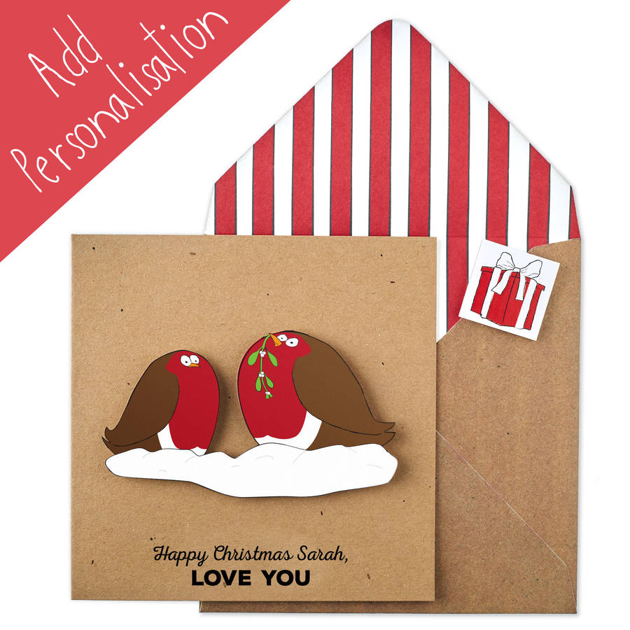 Personalised Christmas Robins Xmas Card By Tache