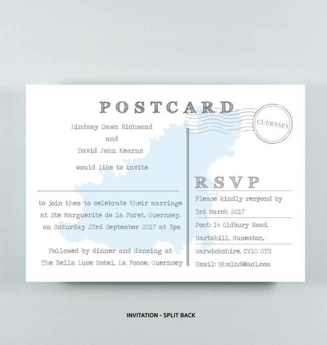 Lindsay Postcard Style Wedding Invitation