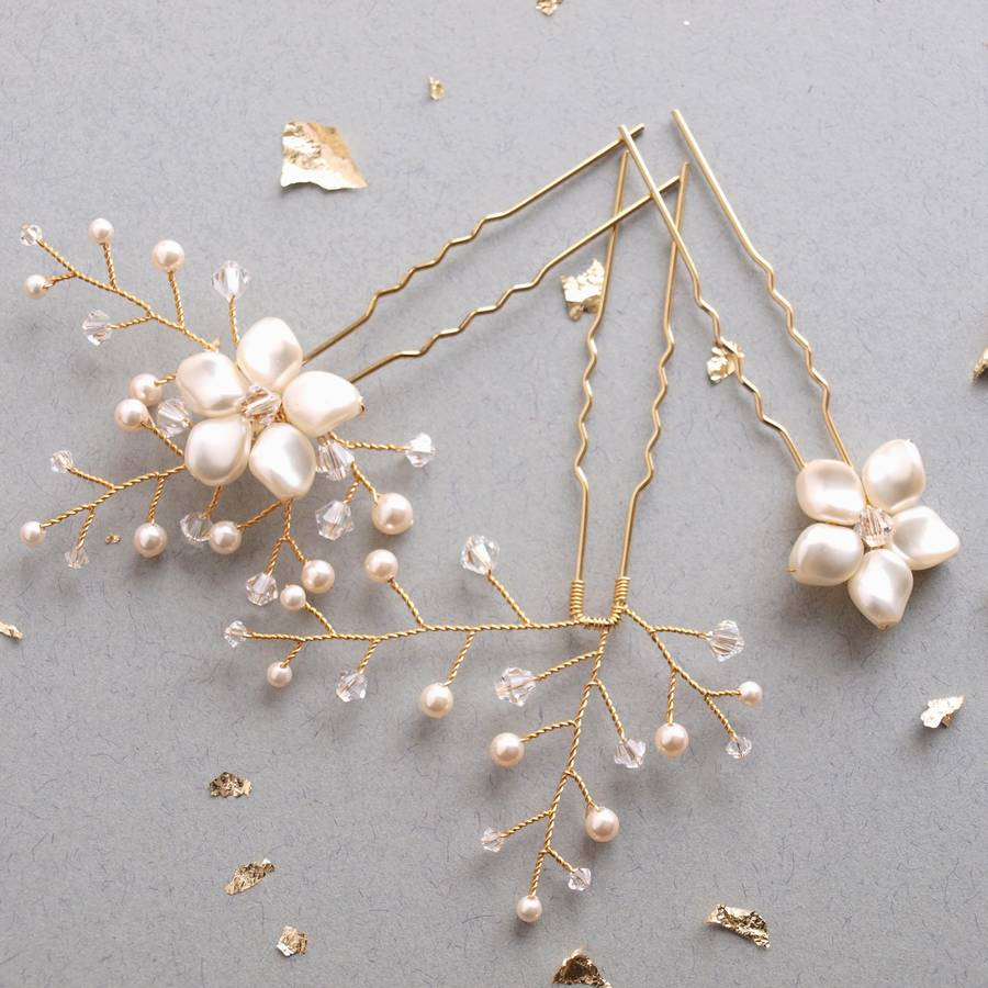gold petal bridal hair pins
