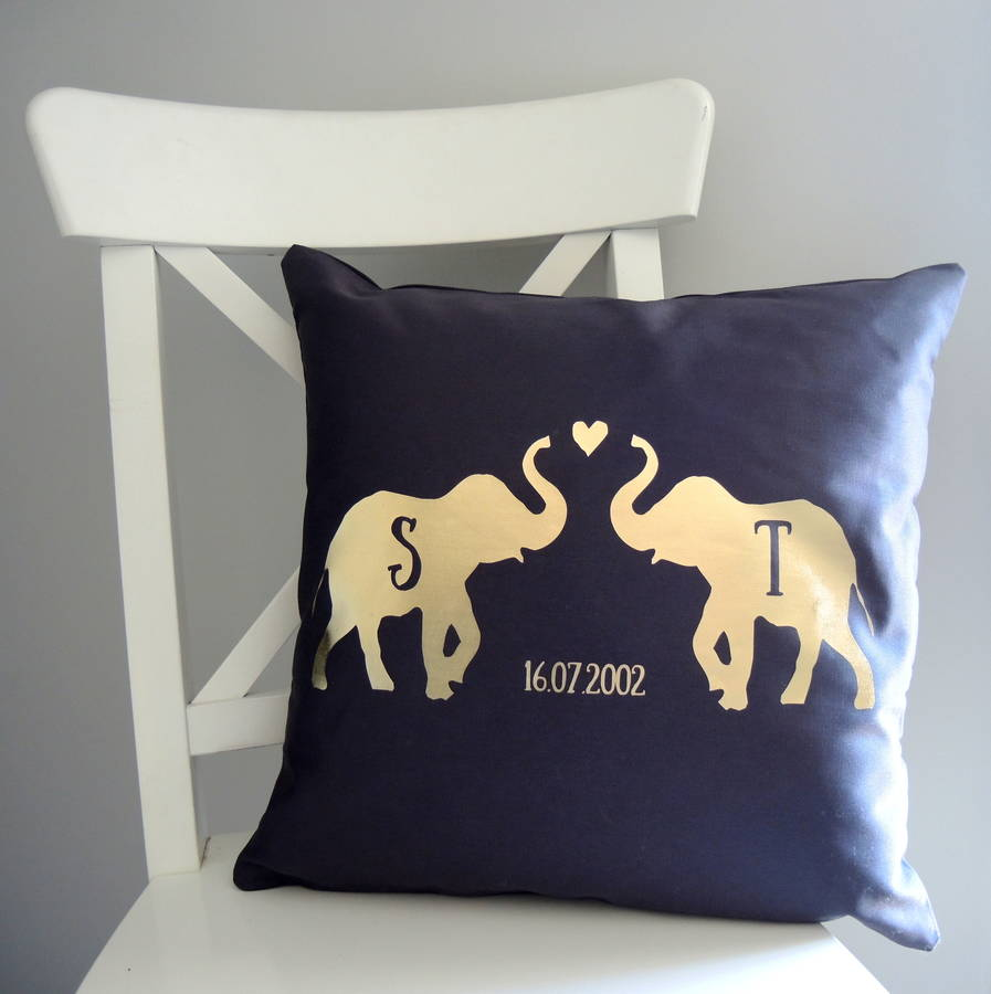 Personalised Love Elephant Cushion By The Alphabet Gift