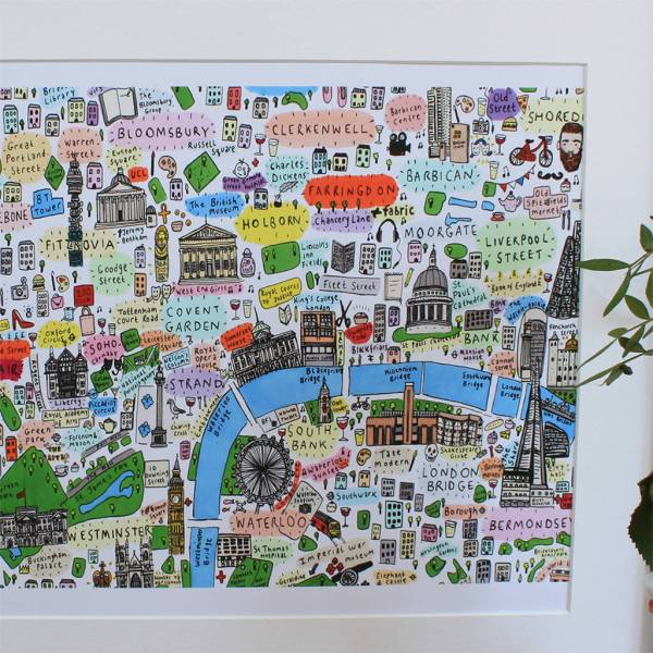 central london illustrated map print by house of cally     Central London Illustrated Map Print