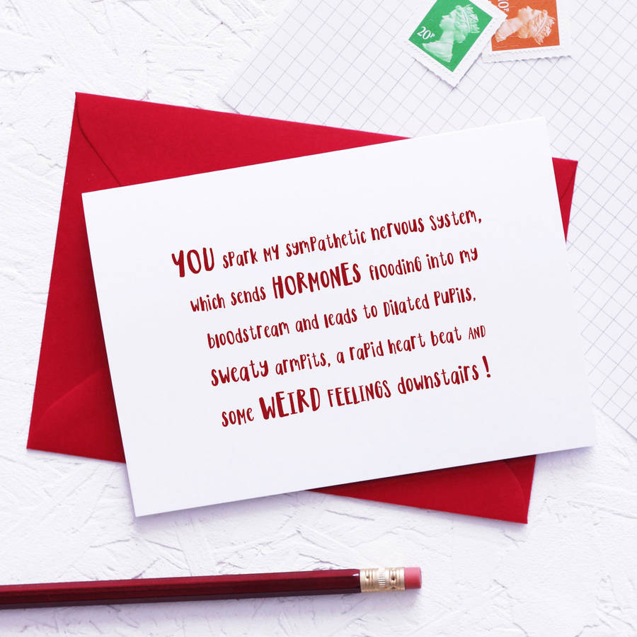 Funny Physiological Reaction Valentines Day Card By