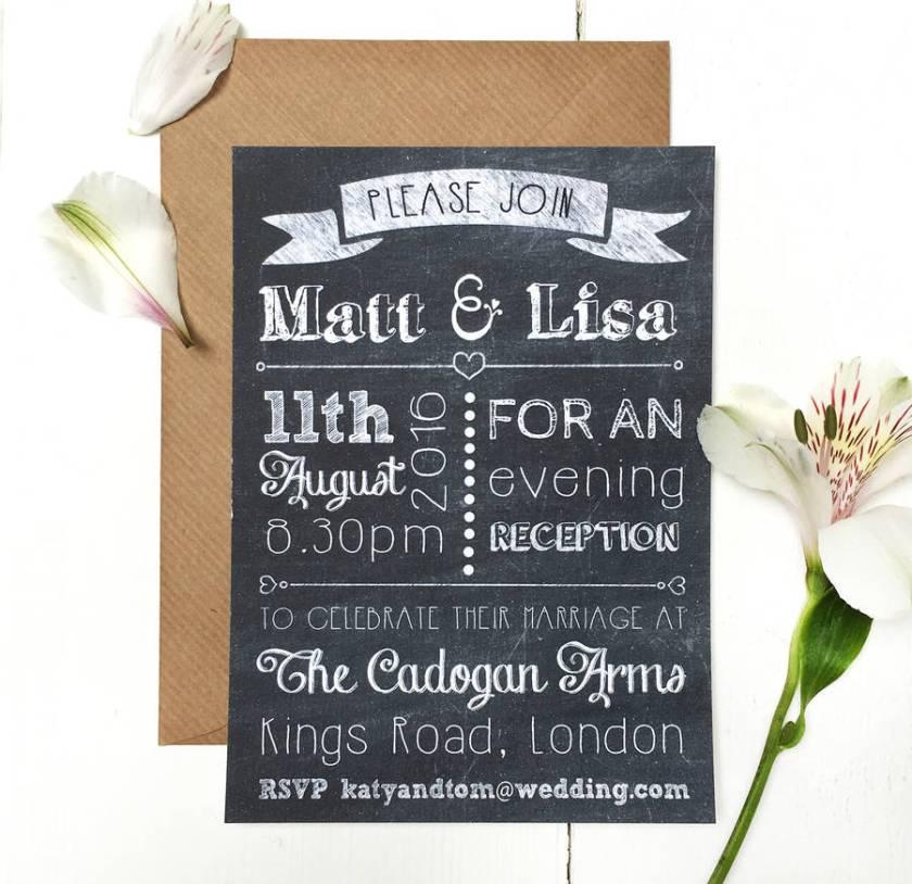 Chalkboard Evening Wedding Invitation