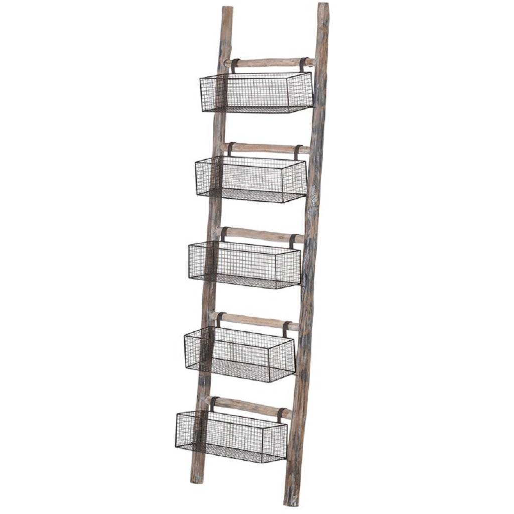 Wooden Wire Storage Baskets Ladder Small Or Large By The